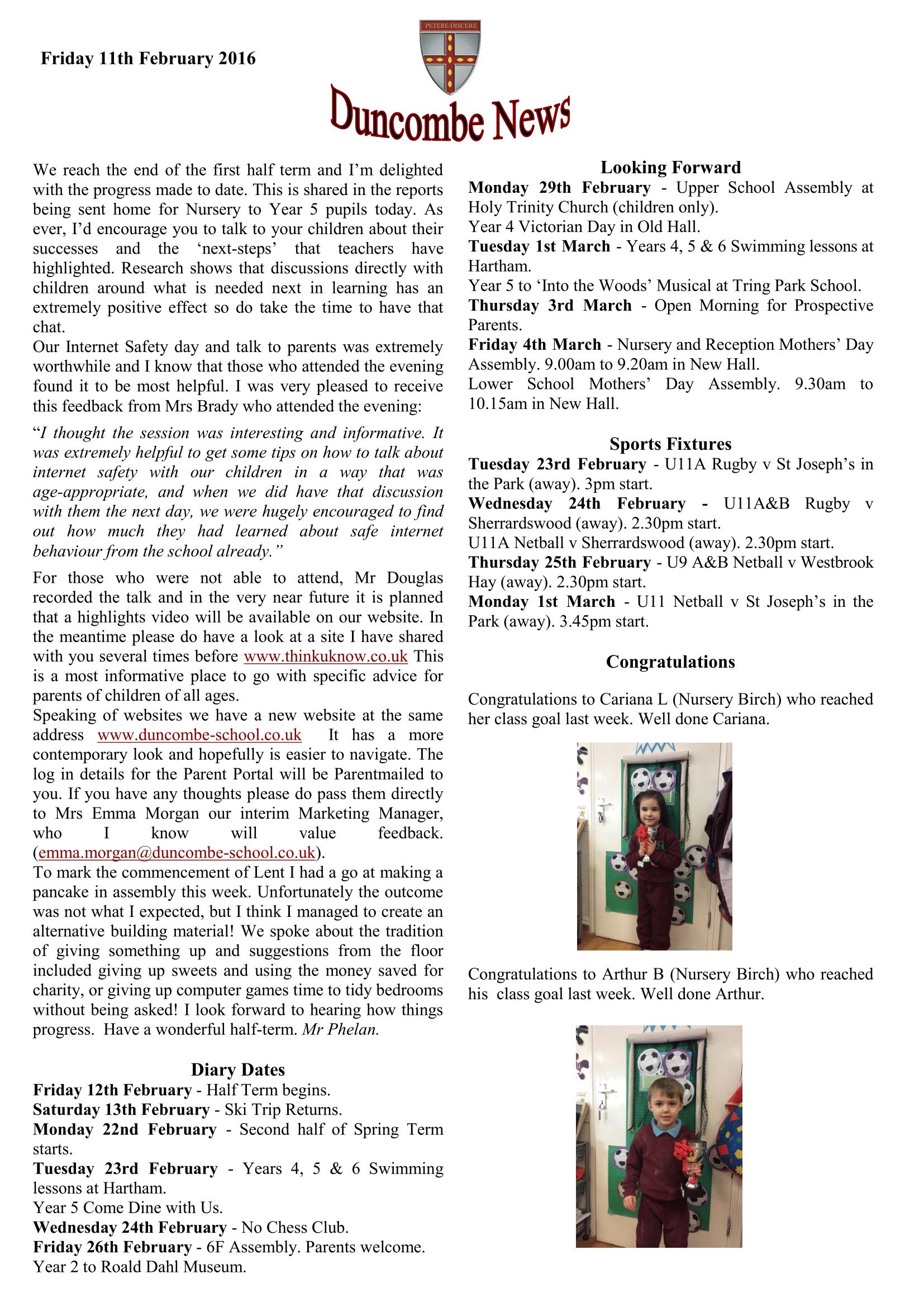 Duncombe February Newsletter