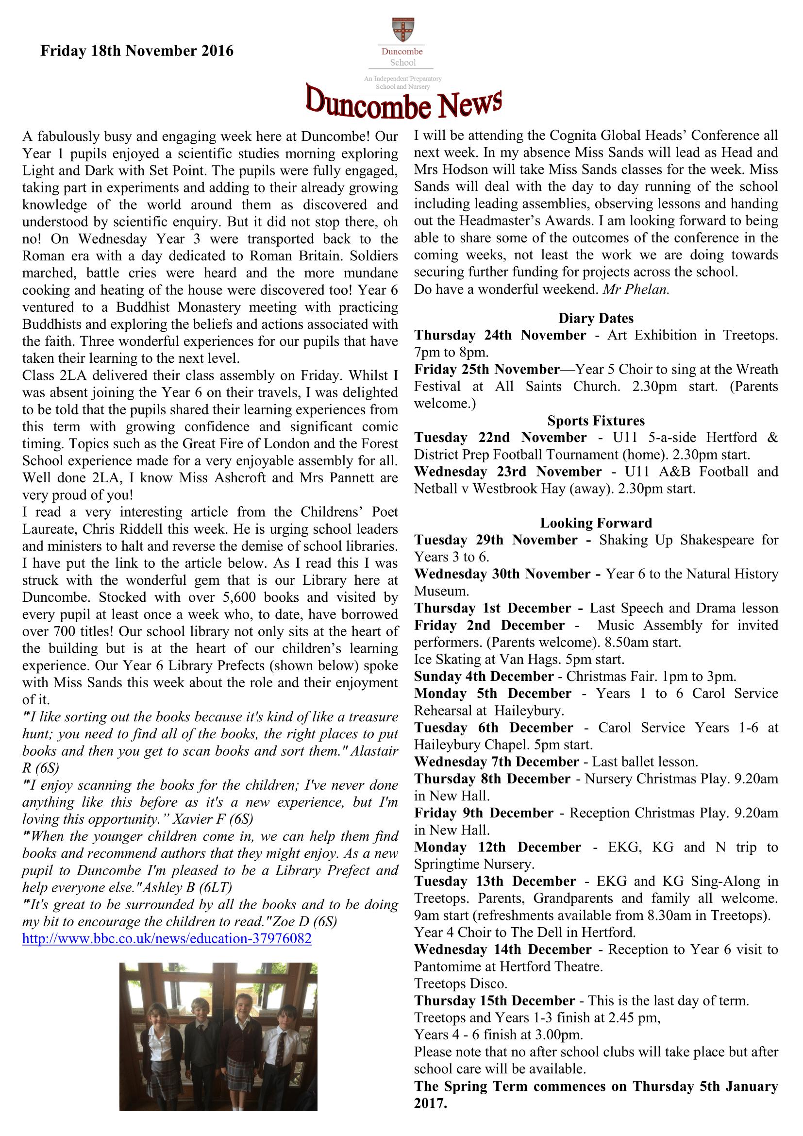 Duncombe November Newsletter