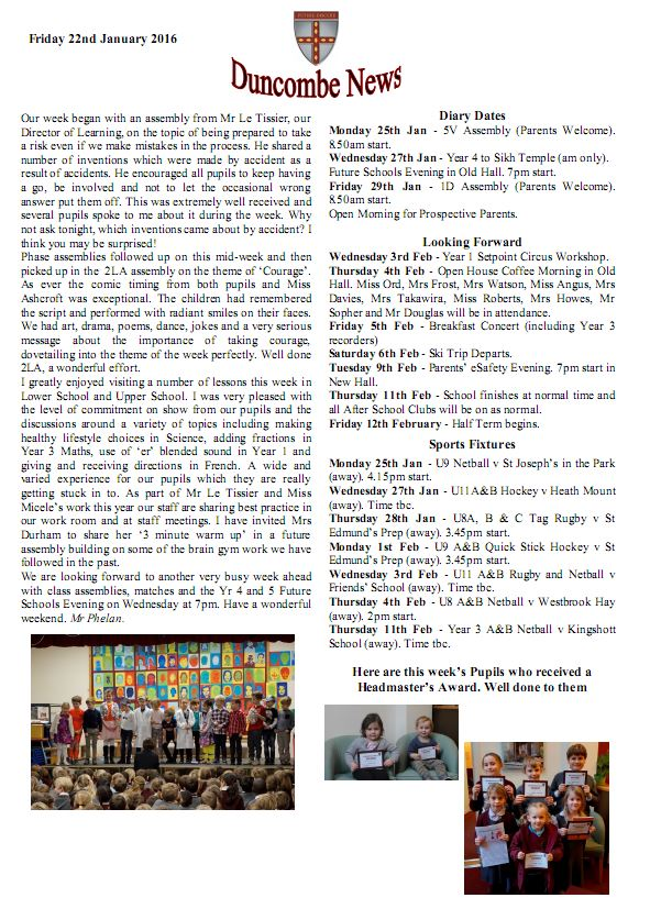 Duncombe January Newsletter