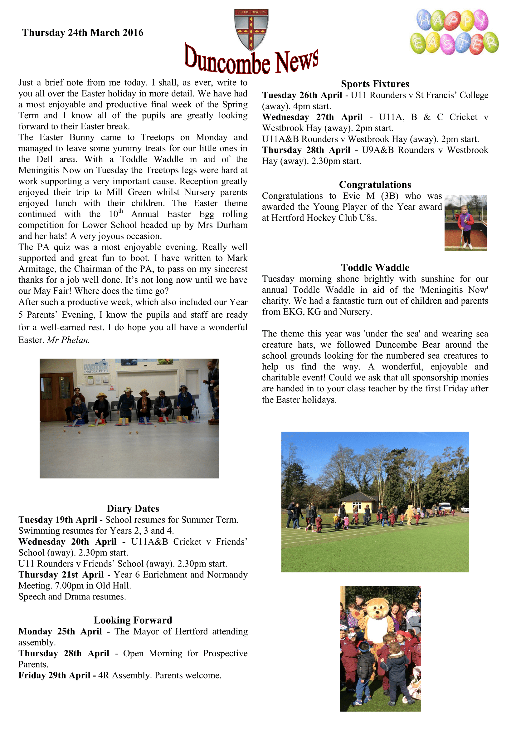 Duncombe March Newsletter